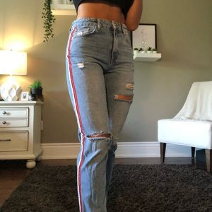Zara straight leg jean with stripe